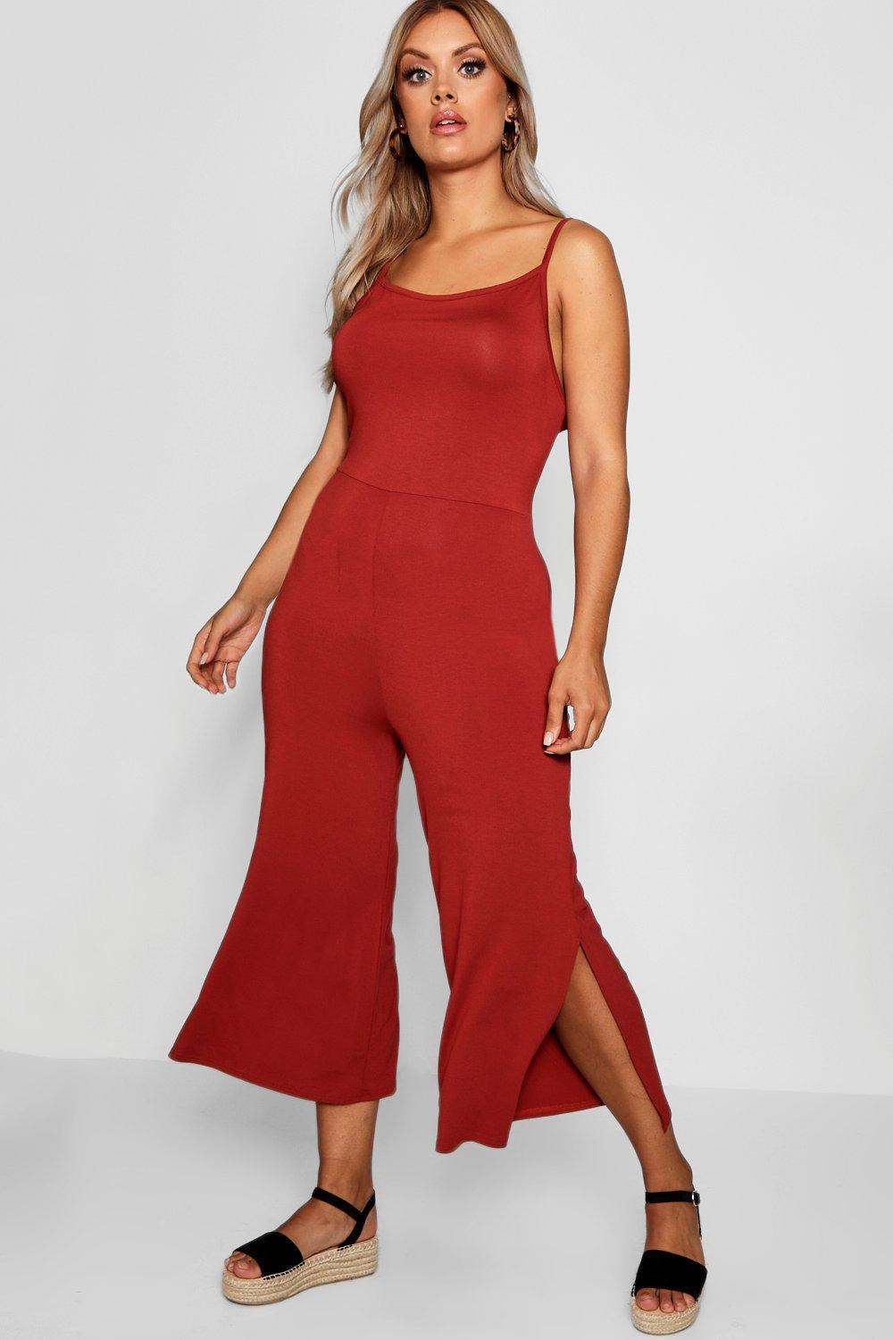 5e0b43b0494 Boohoo Plus Jersey Culotte Jumpsuit in Red - Lyst