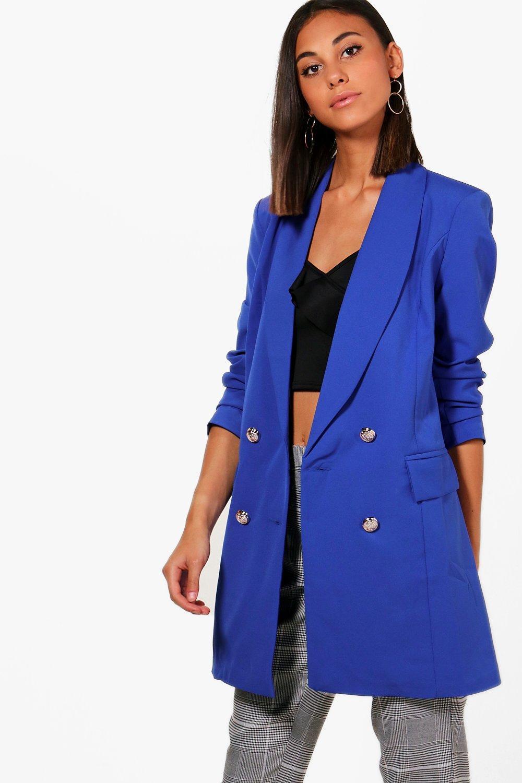 d81d5285cf16 Boohoo Abigail Premium Button Longline Blazer in Blue - Lyst