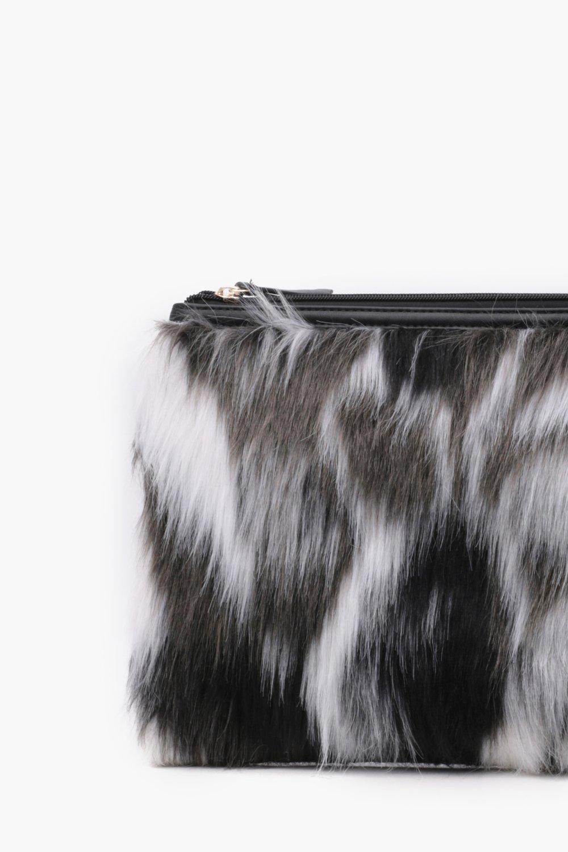 74abe5d2b4 Boohoo Feliciity Multi Faux Fur Clutch in Gray - Lyst