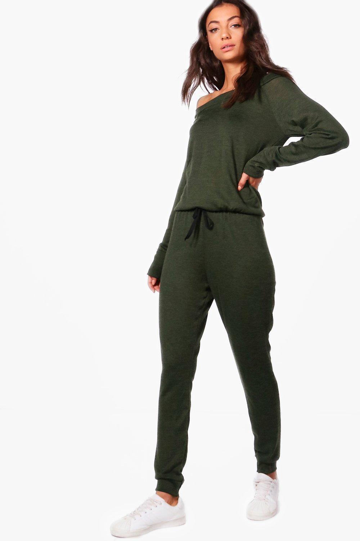 Boohoo Slash Neck Long Sleeve Lounge Jumpsuit Big Discount QVJNKiCjtz