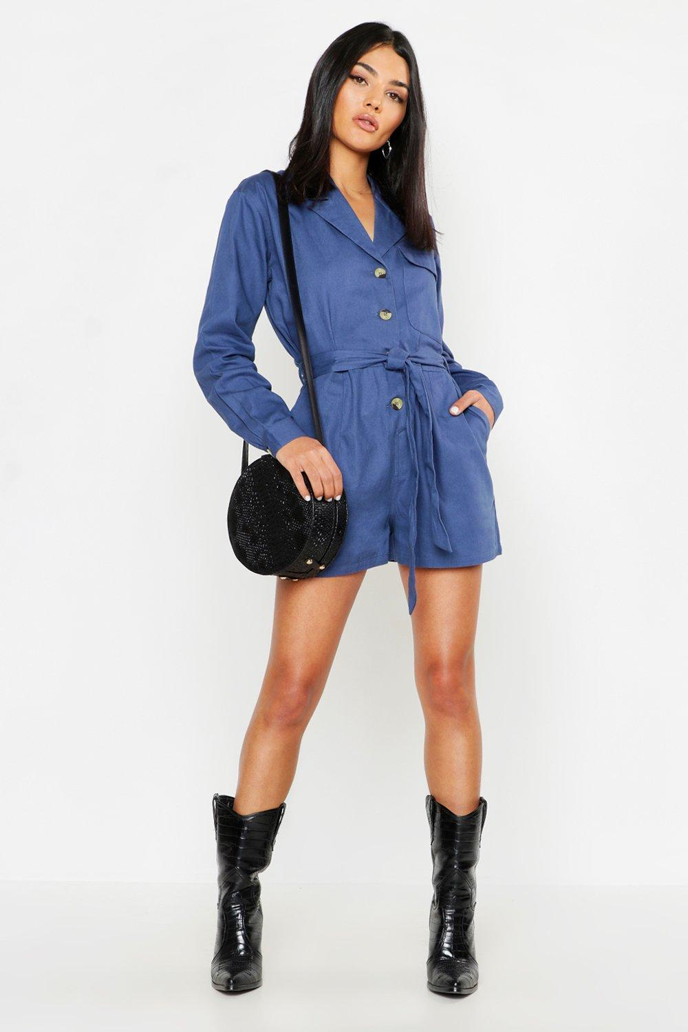 ec7fad2a2c Lyst - Boohoo Utility Belted Denim Playsuit in Blue