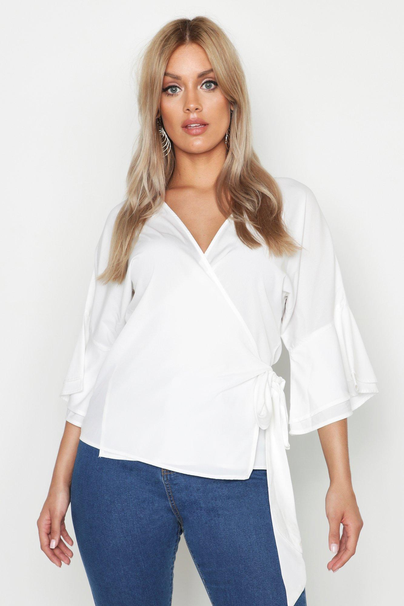 e285181af1176 Boohoo Plus Tiered Sleeve Tie Waist Wrap Blouse in White - Lyst