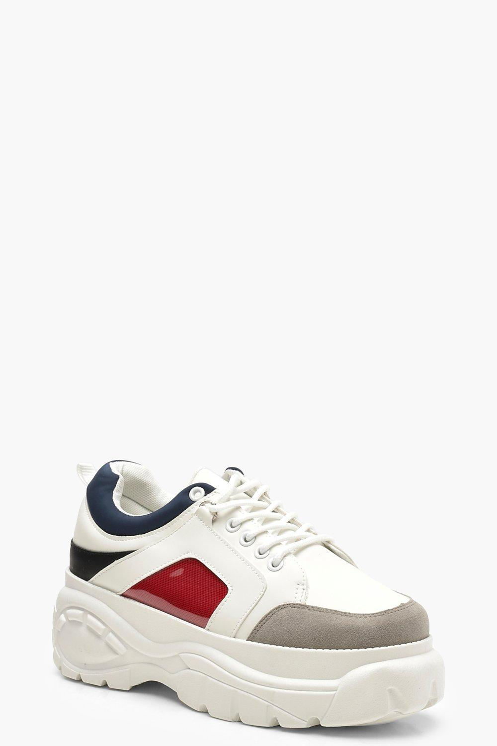 62d2d9fc6ccc Lyst - Boohoo Colour Block Chunky Platform Sneakers in Gray