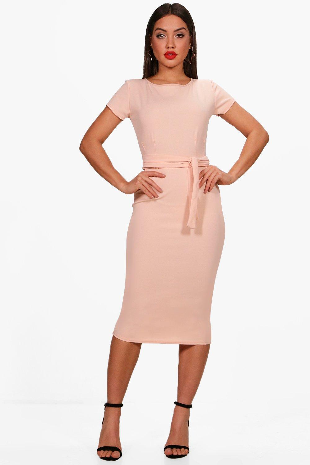 c21854a244e5 Boohoo Pleat Front Belted Tailored Midi Dress in Pink - Lyst