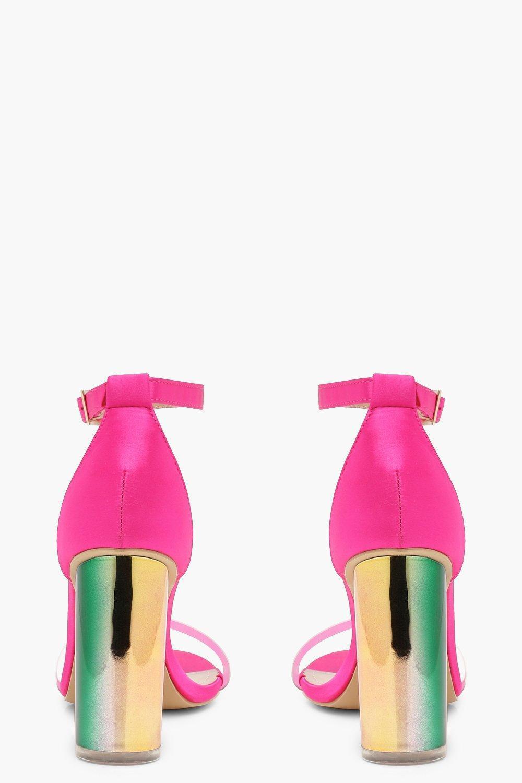 5e69d2957200 Lyst - Boohoo Iridescent Strap Block Heels