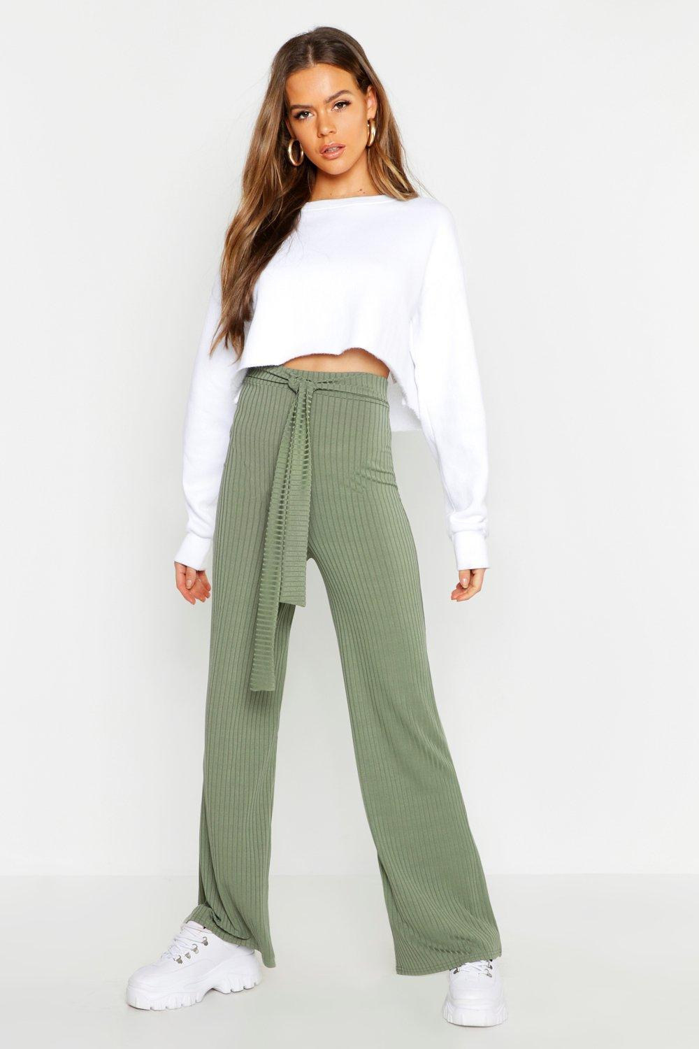 26c1ace7d6fa Lyst - Boohoo Tie Waist Rib Knit Wide Leg Trouser in Green