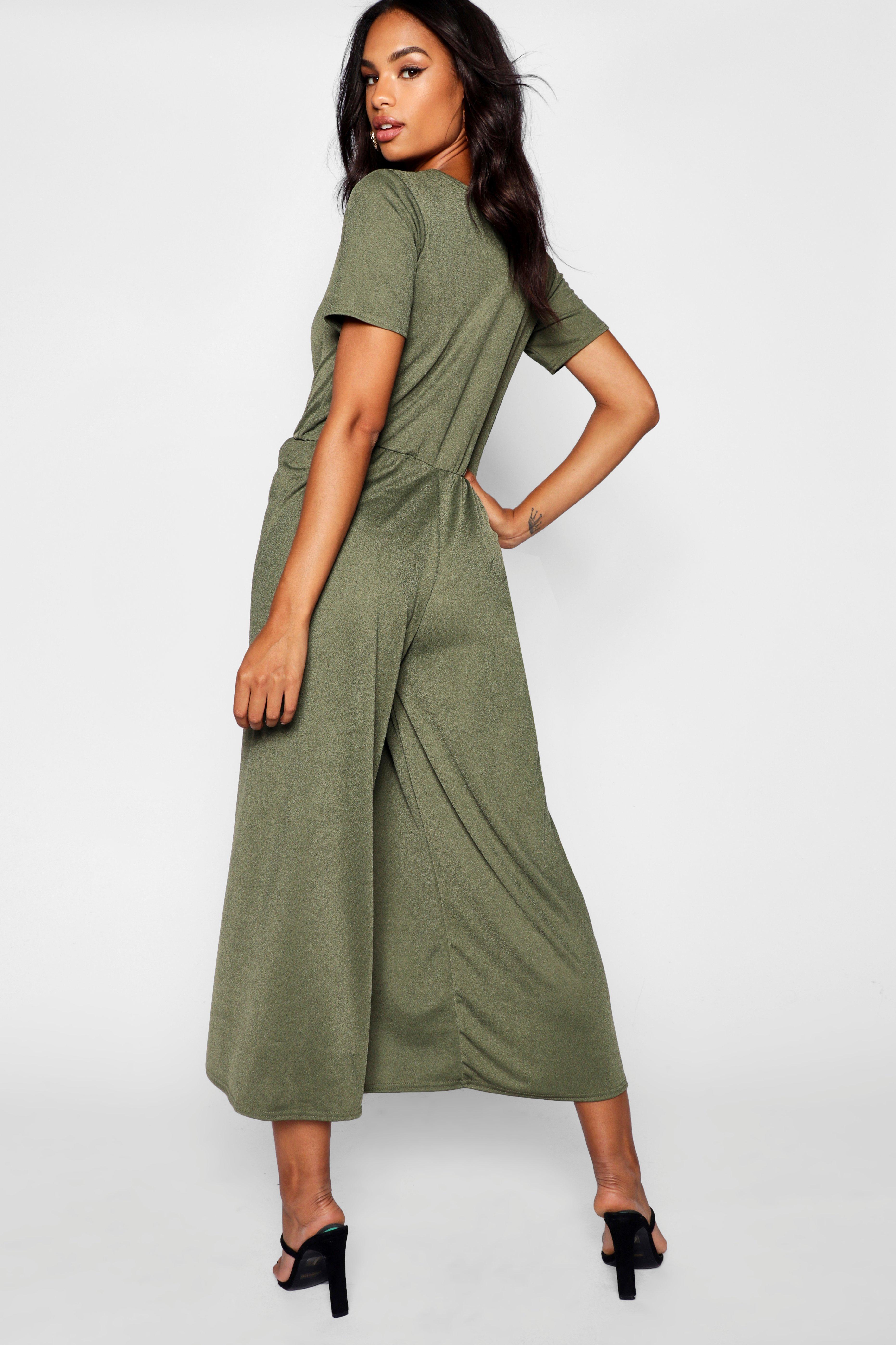 796f8124e78b Boohoo - Black Tall 3⁄4 Sleeve Split Leg Culotte Jumpsuit - Lyst. View  fullscreen