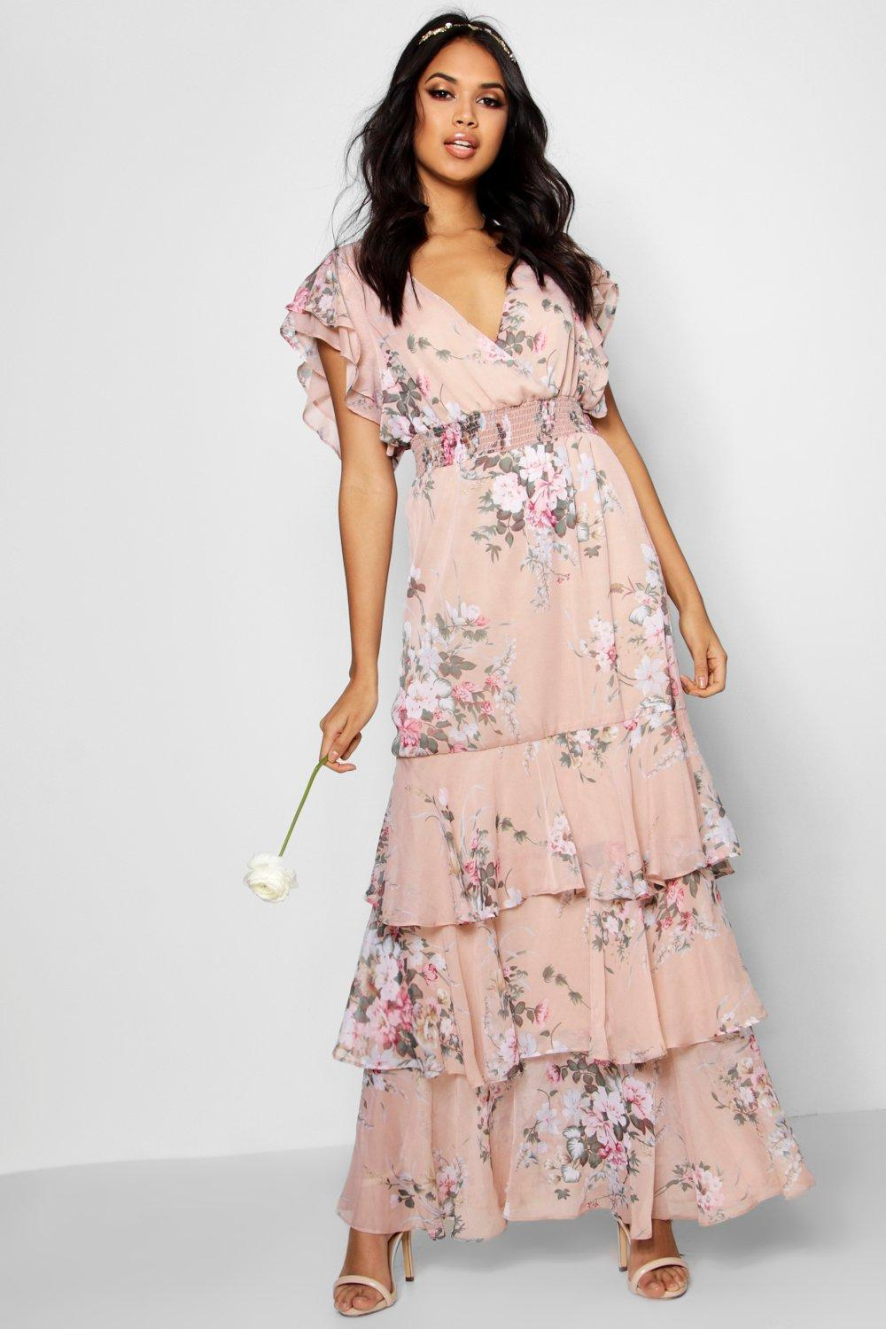 Boohoo Boutique Vintage Floral Ruffle Maxi Dress in Pink - Lyst