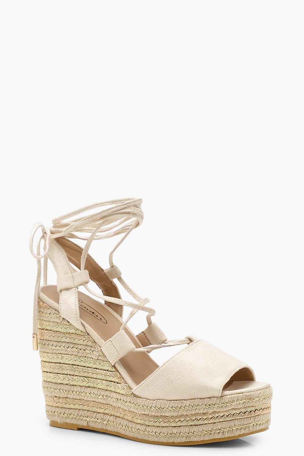 270ab3c1edc3 Boohoo Tie Up Espadrille Wedges in Natural - Lyst