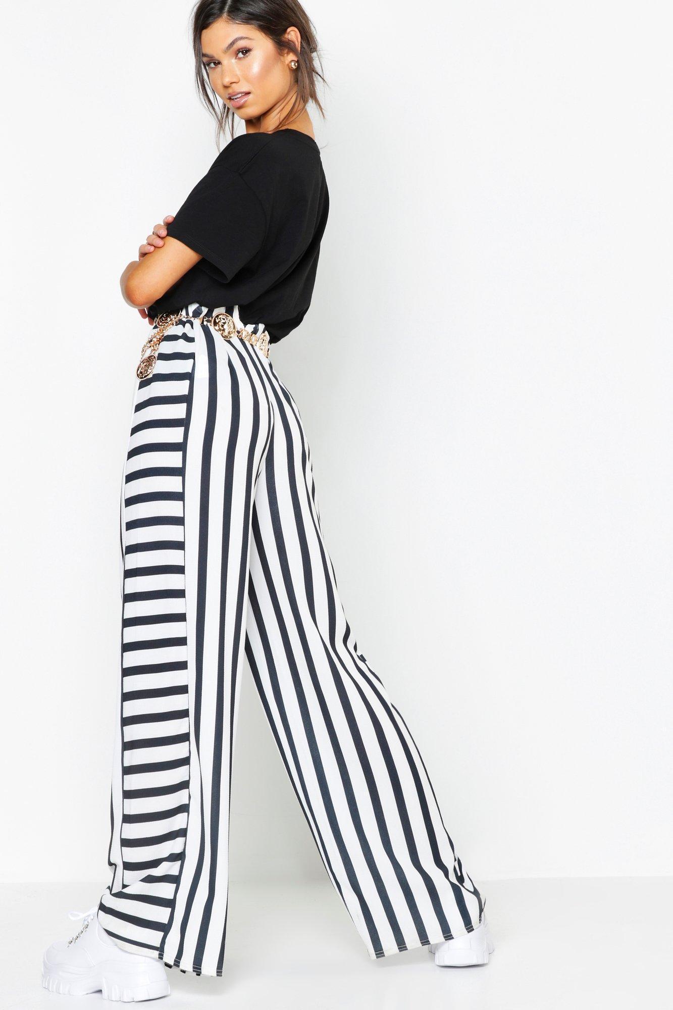f38bac231f80 Boohoo - Black Contrast Stripe Woven Wide Leg Pants - Lyst. View fullscreen