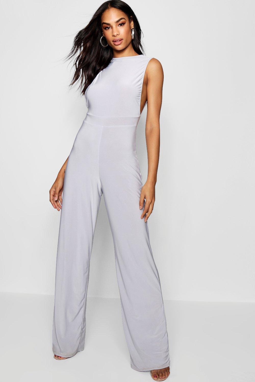 123e51d20599 Boohoo Side Boob Slinky Jumpsuit in Gray - Lyst
