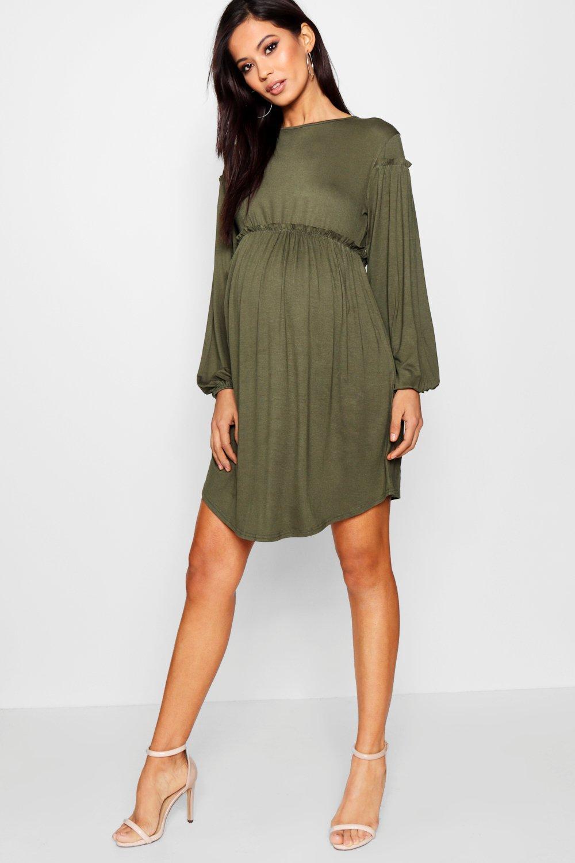 ee462d5602d78 Boohoo Maternity Long Sleeve Smock Dress in Green - Lyst