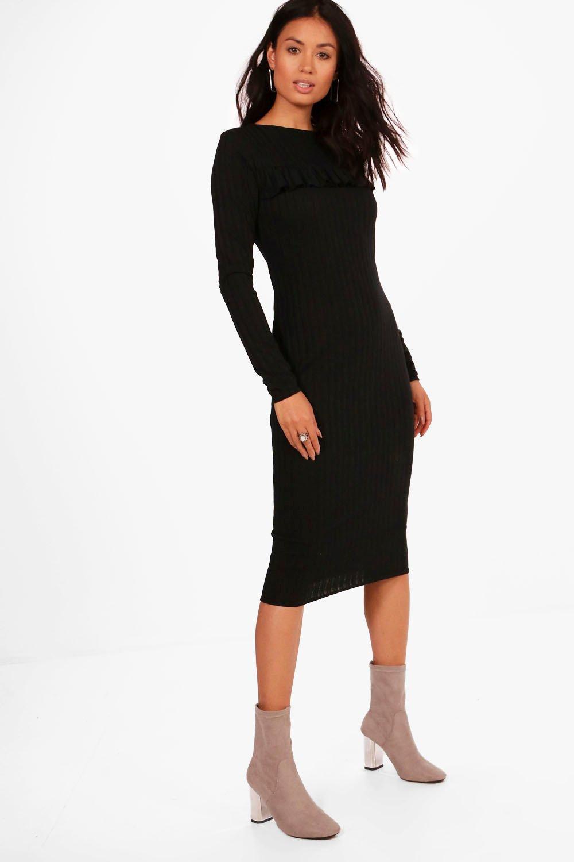 21ff13c3ee Lyst - Boohoo Ribbed Frill Bodycon Midi Dress in Black