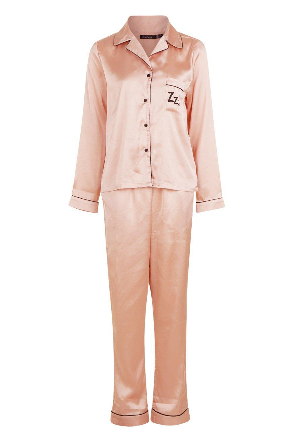 e81c7234 Boohoo - Pink Zzz Satin Button Through Trouser Set - Lyst. View fullscreen