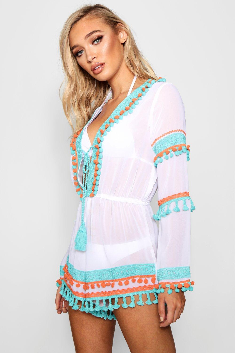 04b9666ac7 Lyst - Boohoo Pom Pom Tassel Beach Playsuit in White