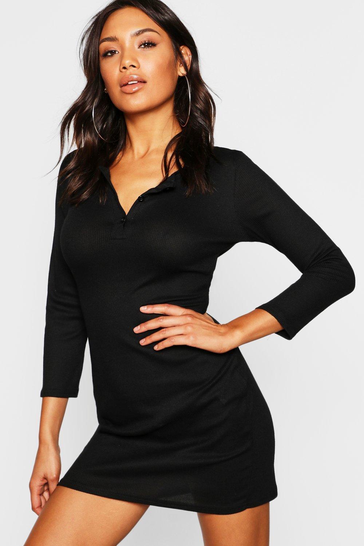 c95a59f51f16 Boohoo Rib Knit Long Sleeve Button Up Mini Dress in Black - Lyst