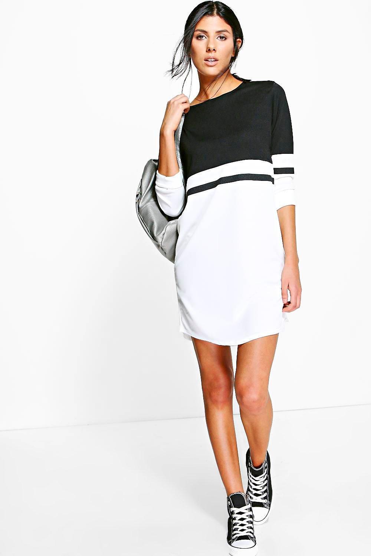 5685c177b409 Boohoo Odel Long Sleeve Colour Block Shift Dress in Black - Lyst