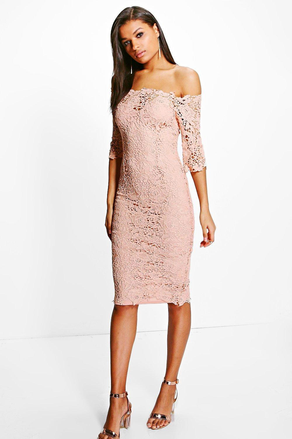 c9c8baccd922 Lyst - Boohoo Boutique Crochet Off Shoulder Midi Dress in Pink