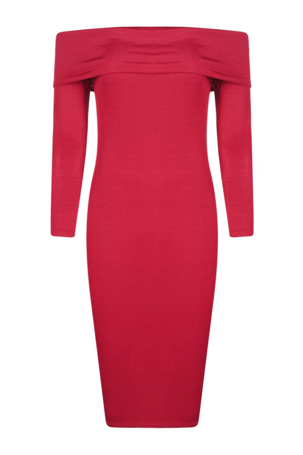073bc278bc0e Lyst - Boohoo Amy Slinky Oversized Off The Shoulder Midi Dress in Red