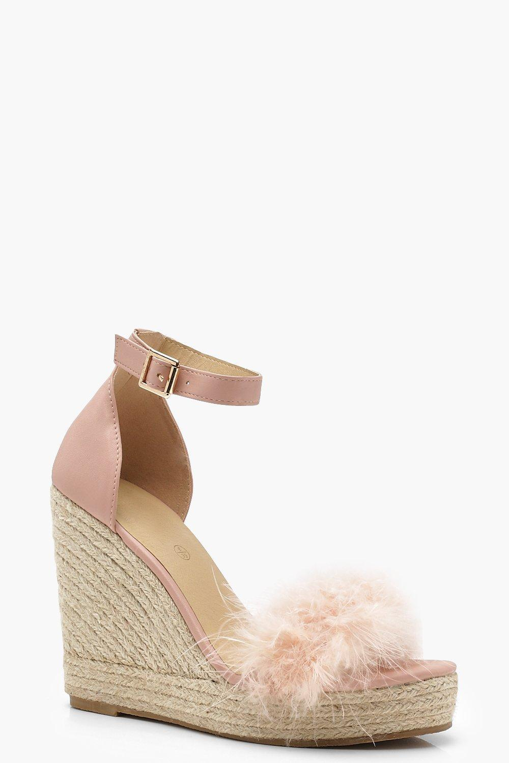 3a18242dcd8c Lyst - Boohoo Feather Trim Espadrille Wedges in Natural