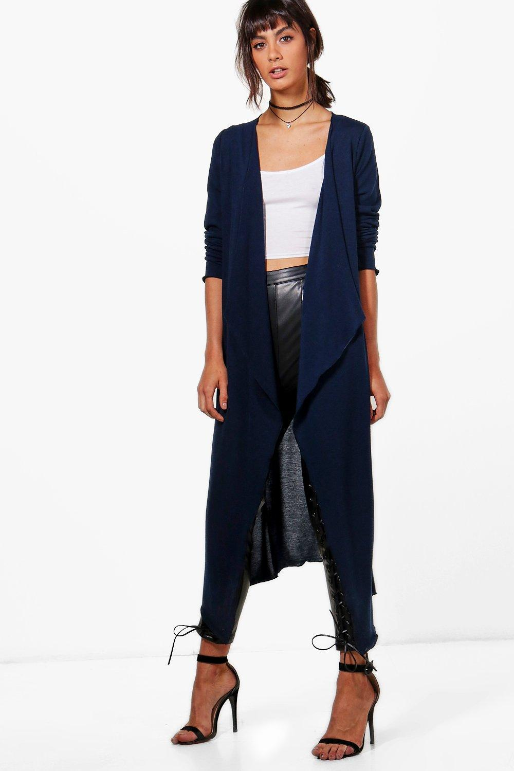 Boohoo Jade Waterfall Maxi Cardigan in Blue | Lyst