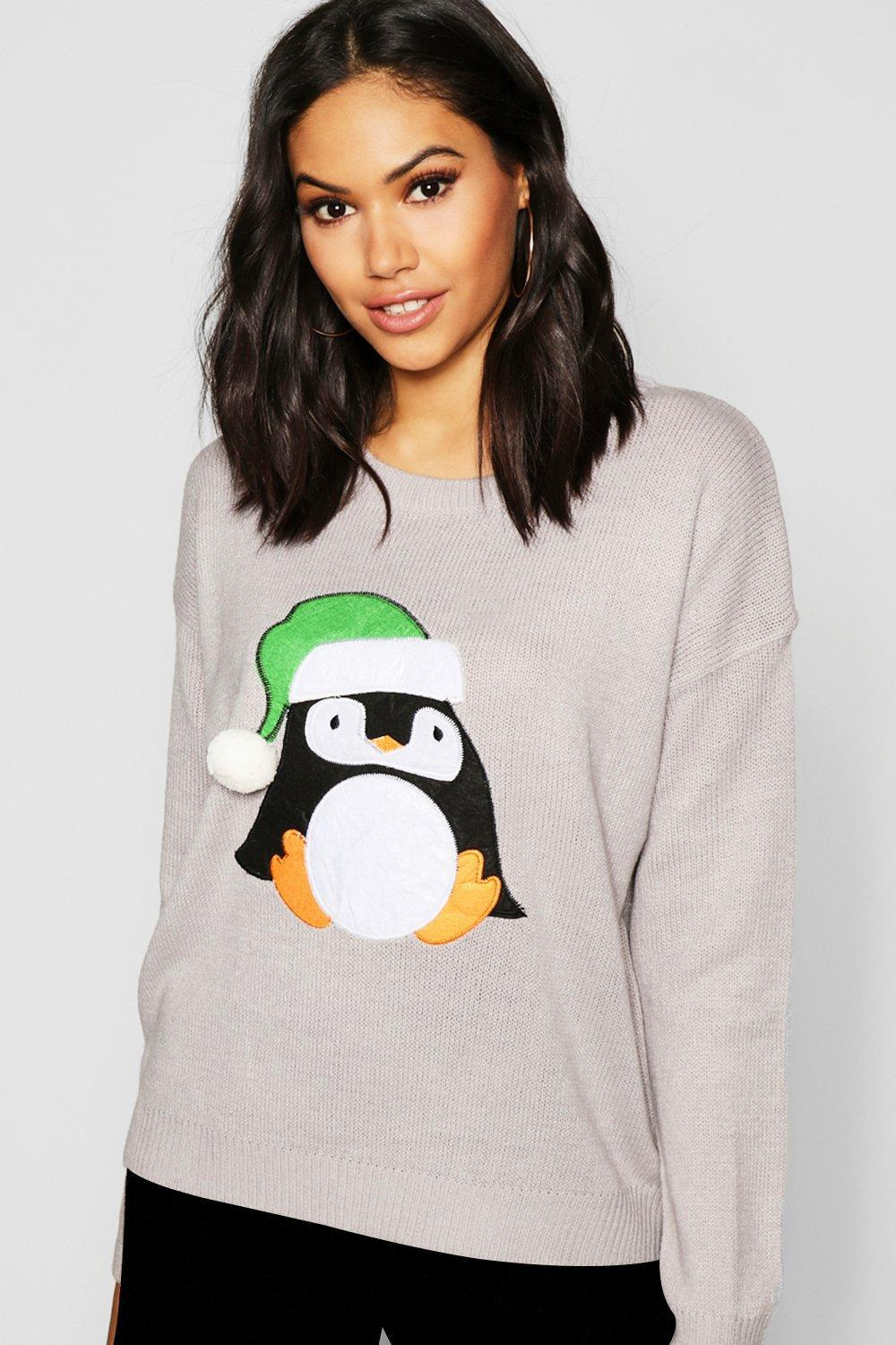 93e0a14d57c2f Boohoo Penguin Applique Jumper With Pom Pom in Gray - Save 10.0% - Lyst
