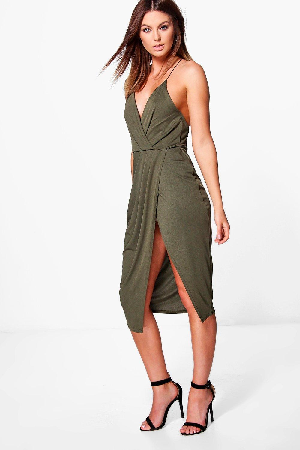 58fa07ab658d Boohoo Diane Strappy Wrap Detail Midi Dress in Green - Lyst