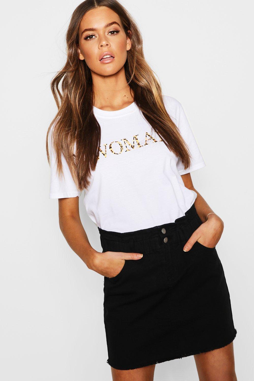 e8485cfb82 Lyst - Boohoo Elastic Ruffle Waist Denim Mini Skirt in Black