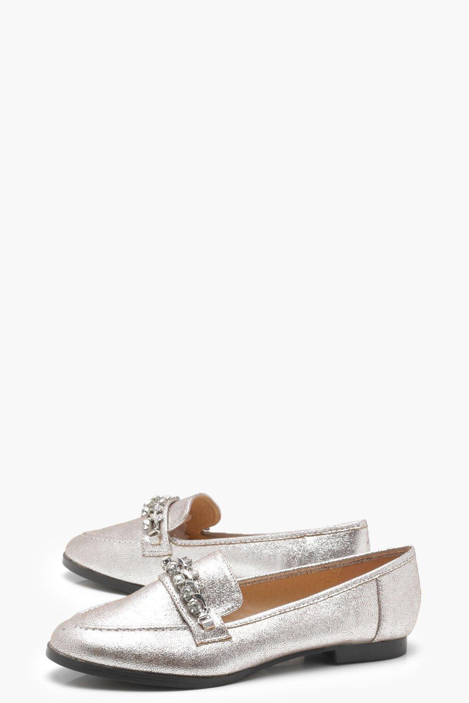 17f295c809a Lyst - Boohoo Embellished Trim Loafers