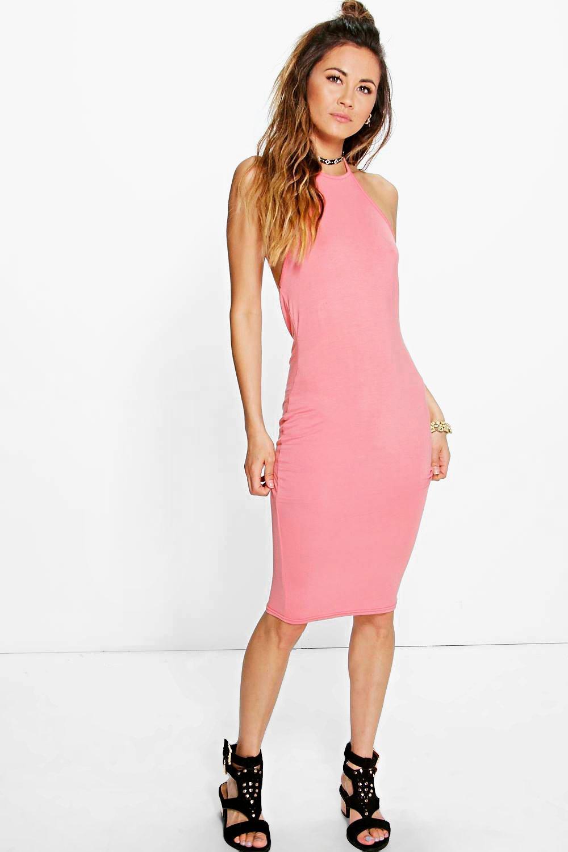 3fa861c3120d Boohoo Chiara Basic 90s Neck Midi Dress in Black - Lyst