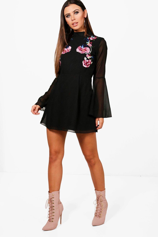 46dbaea74b306 Boohoo Petite Embroidered Flare Sleeve Skater Dress in Black - Lyst