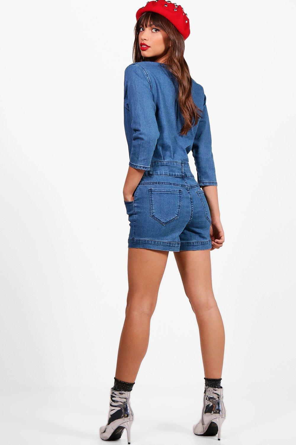 08709b23e3 Gallery. Previously sold at  Boohoo · Women s Denim Jumpsuits ...