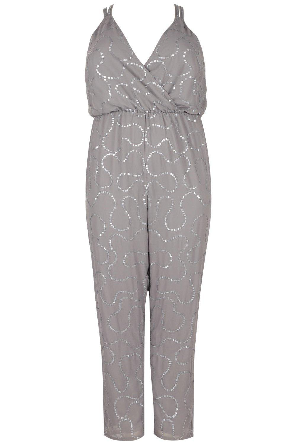 82fd5ff0e93 Lyst - Boohoo Plus Boutique Sequin Embellished Jumpsuit in Gray