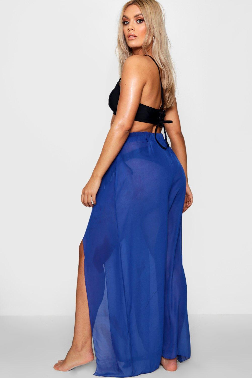 5effcdca60 Boohoo - Blue Plus Chiffon Split Beach Maxi Skirt - Lyst. View fullscreen