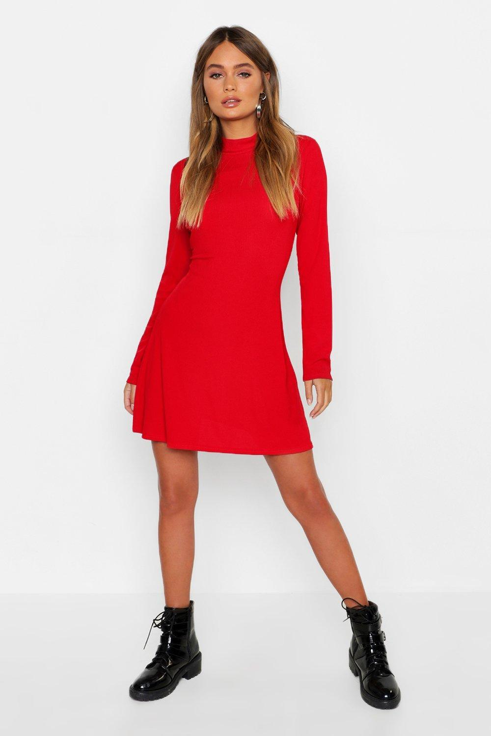 bd77d6c1418d Boohoo High Neck Long Sleeve Swing Dress in Red - Lyst