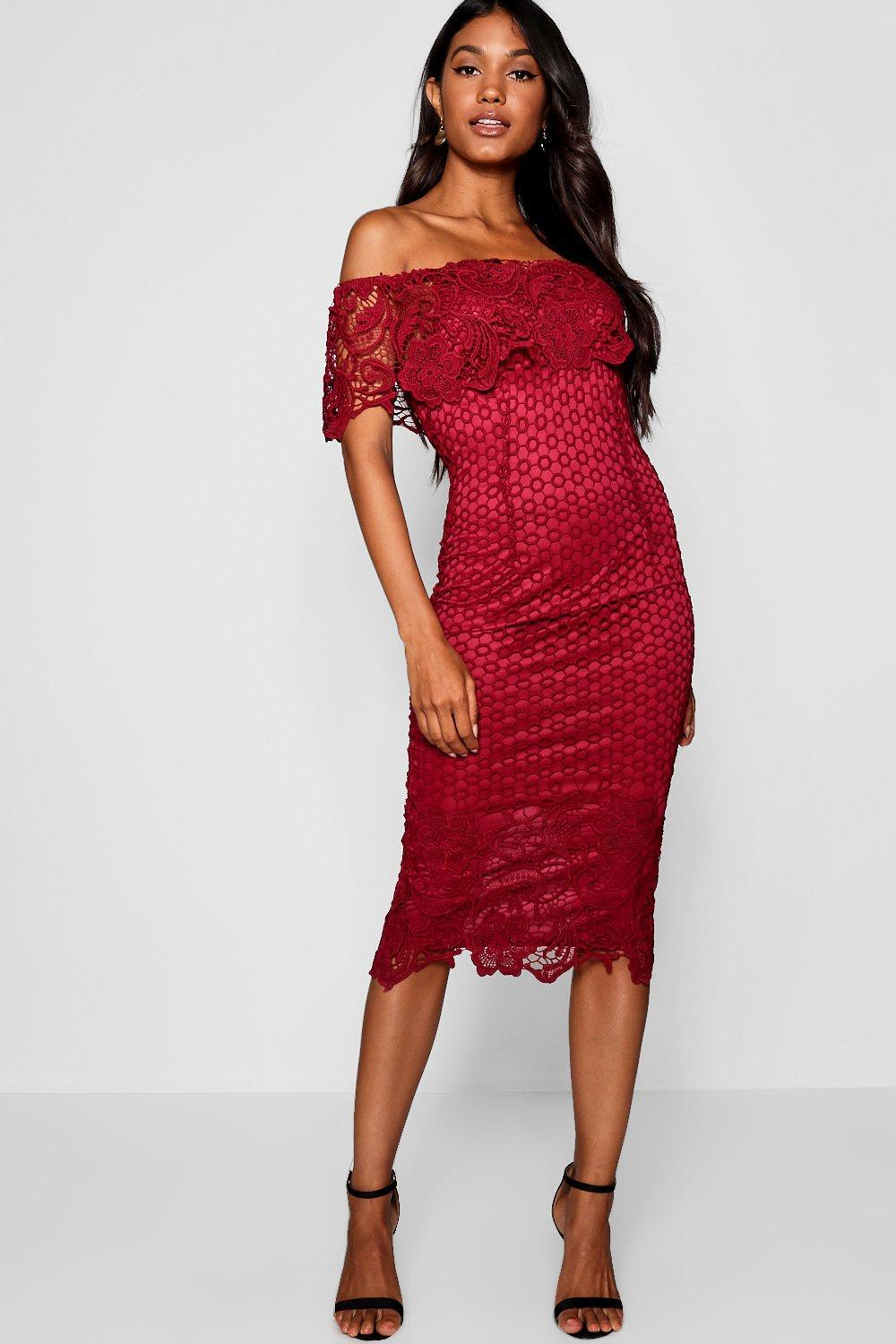 569791081e4 Boohoo Boutique Lace Off Shoulder Midi Dress in Red - Lyst