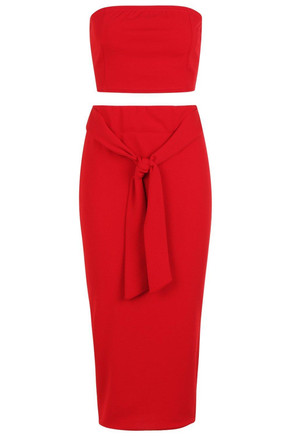 2b258a9fb4 ... Red Bandeau Tie Detail Midi Skirt Co-ord - Lyst. Visit Boohoo. Tap to  visit site