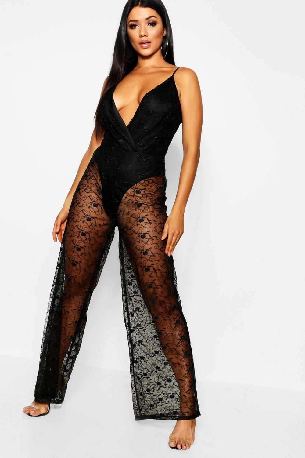 bfd9aa771ca Lyst - Boohoo Embrioidered Lace Plunge Jumpsuit in Black