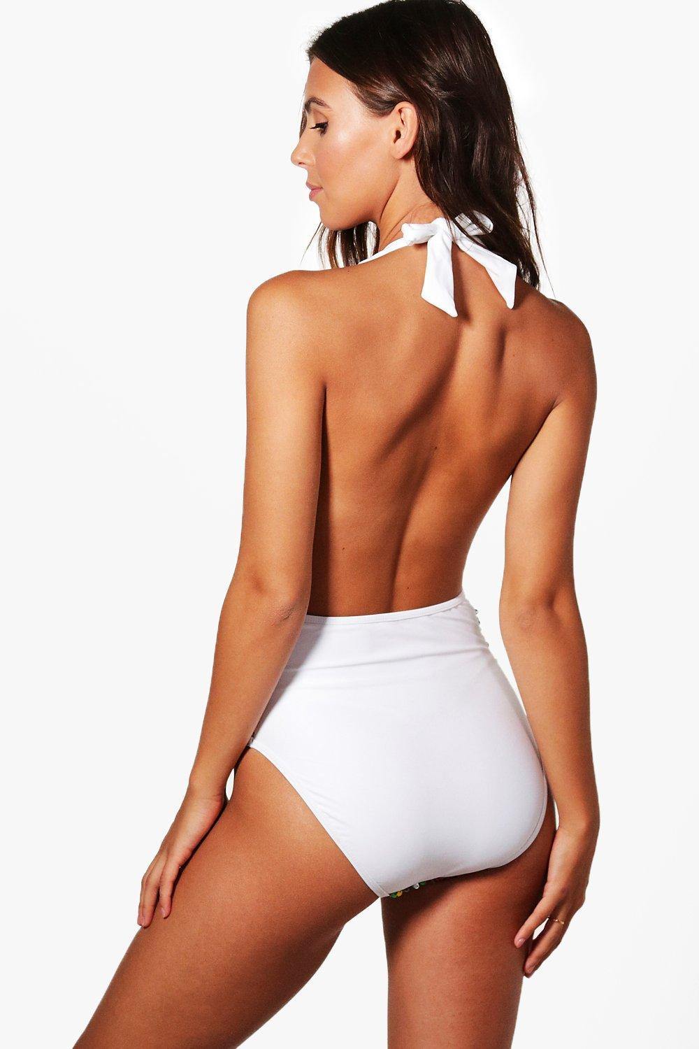 1c8a453d7b Lyst - Boohoo Petite Sequin Plunge Swimsuit in White