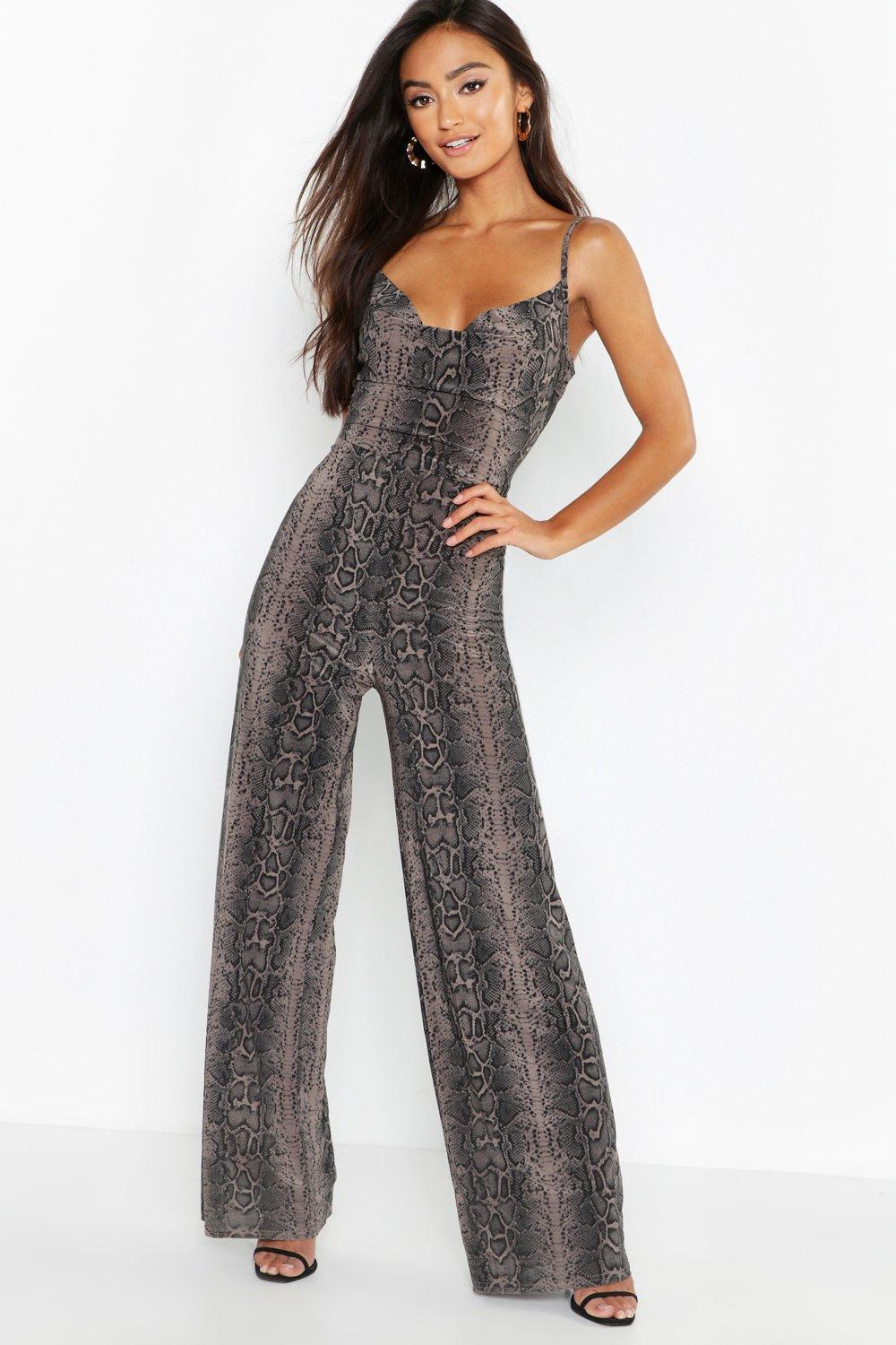1b573a8f139 Lyst - Boohoo Petite Snake Print Cowl Neck Slinky Jumpsuit in Gray