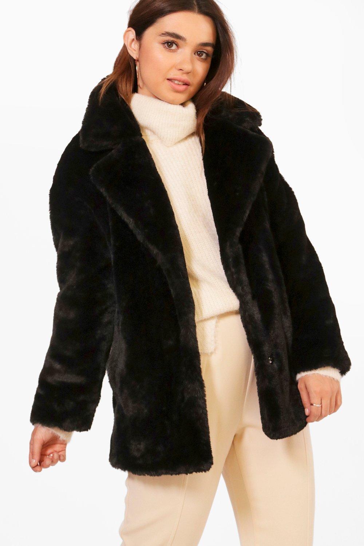 68af7b05ebb0 Boohoo Petite Oversized Collar Luxe Faux Fur Coat in Black - Lyst
