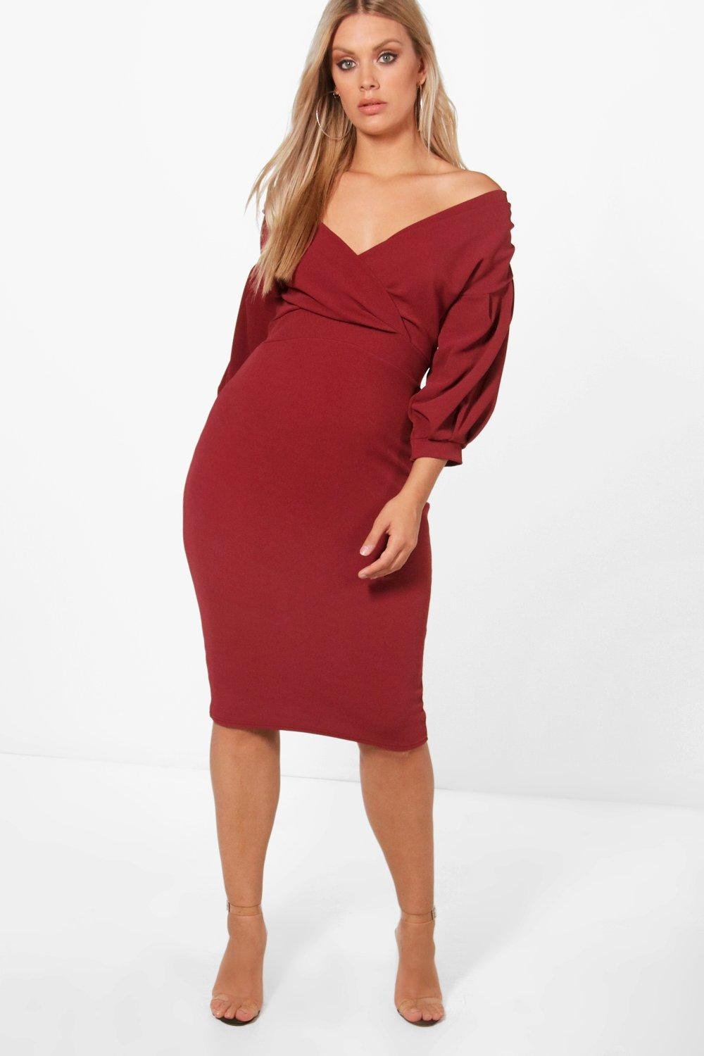 10246ee7afc0 Boohoo Plus Off The Shoulder Wrap Midi Dress in Red - Lyst