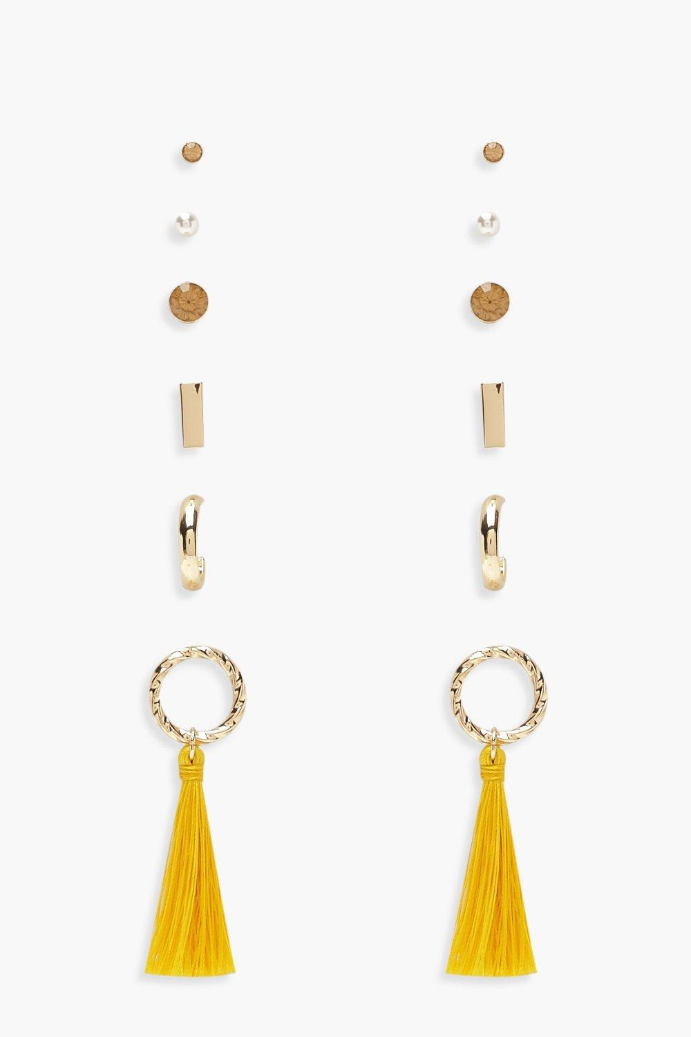 aa8055a7d9f Boohoo Stud & Circle Tassel Earring Pack in Yellow - Lyst