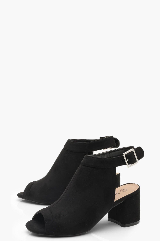 7dacf07e0de7 Boohoo - Black Wide Fit Peeptoe Shoe Boots - Lyst. View fullscreen