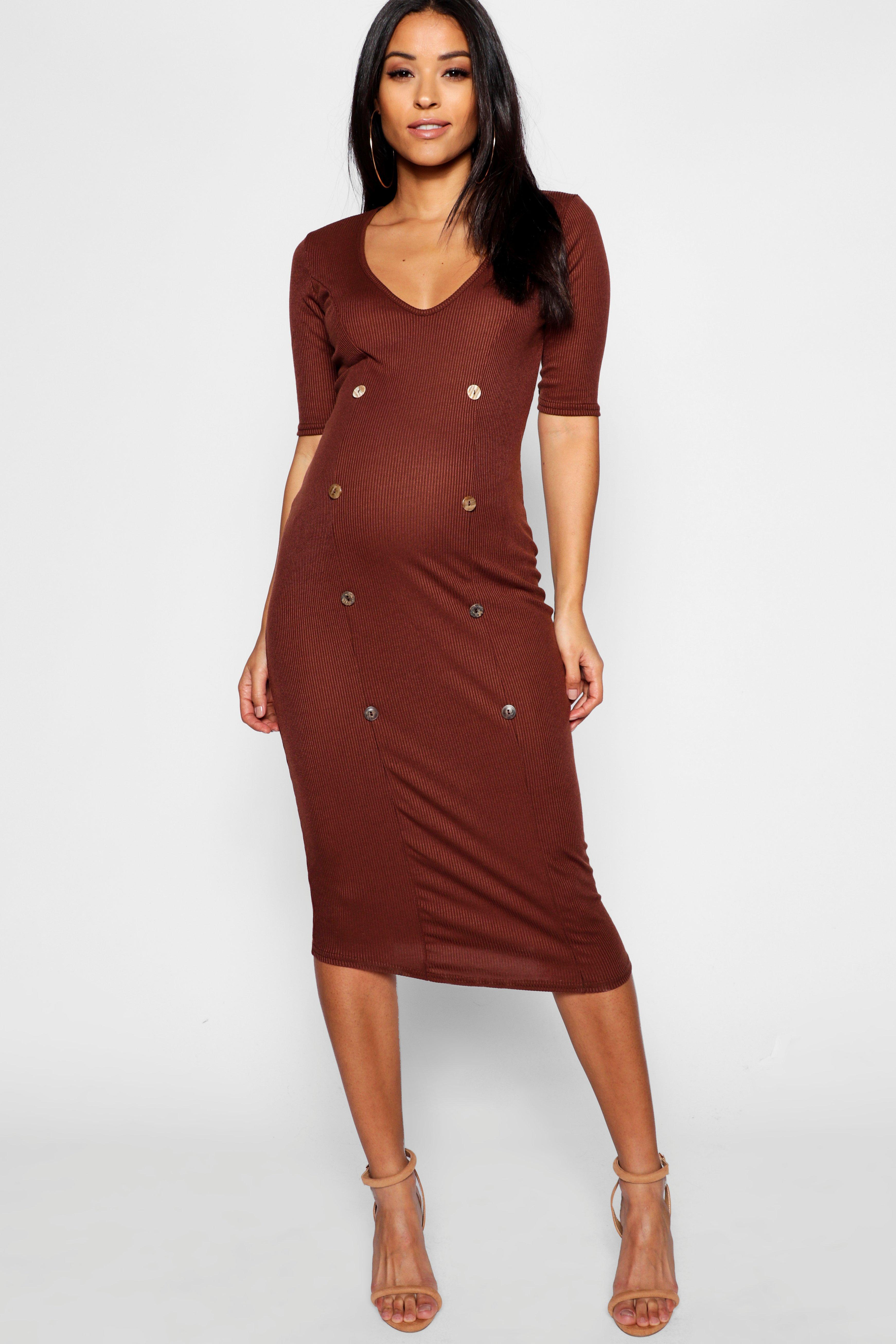 98a5d12c510 Boohoo Maternity Rib Mixed Horn Button Midi Dress in Brown - Lyst