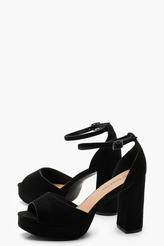 1a50619e338 Boohoo - Black Extra Wide Fit Peeptoe Platform Heels - Lyst. View fullscreen