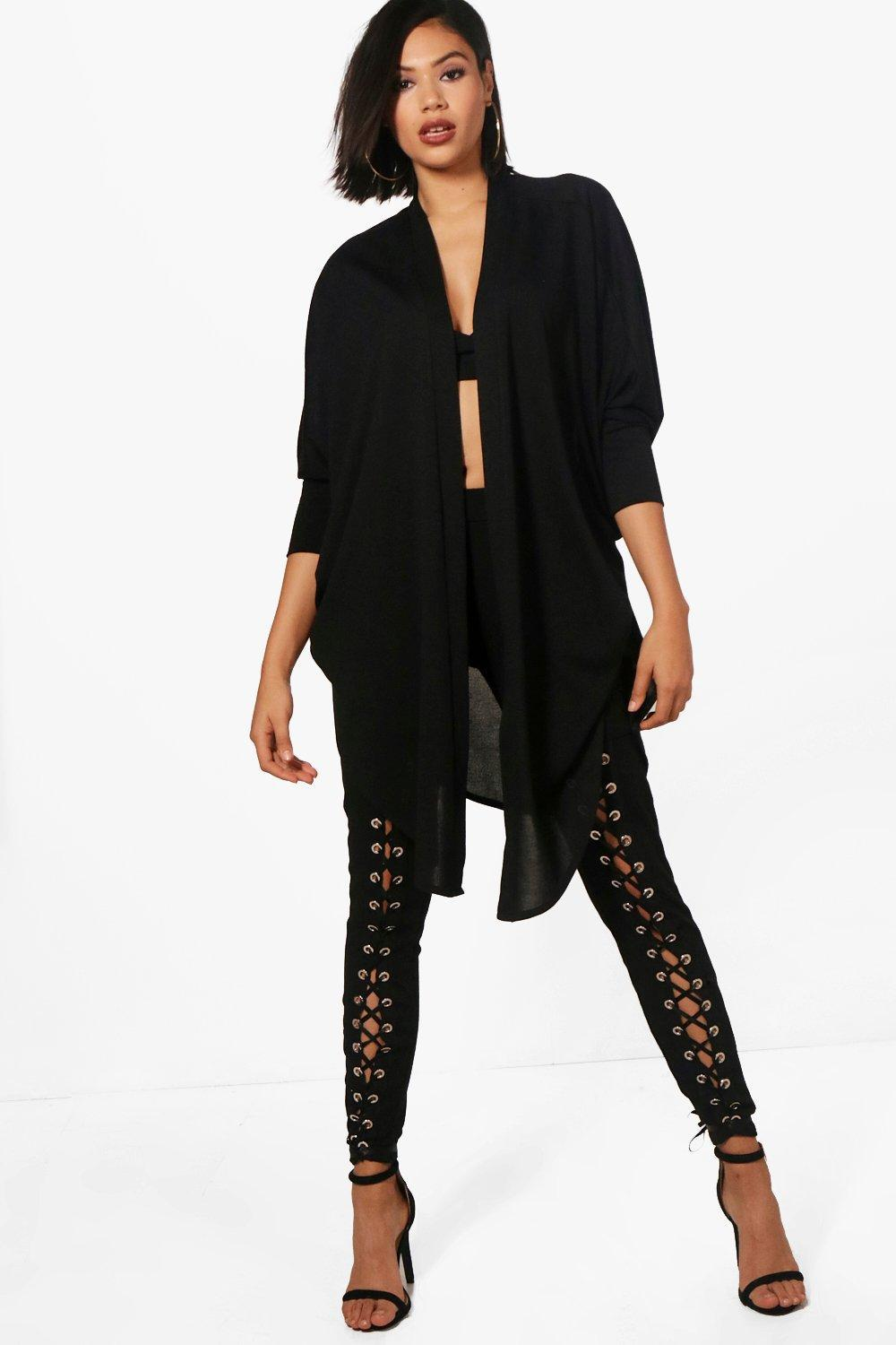 Boohoo Jodie Waterfall Split Back Cardigan in Black | Lyst