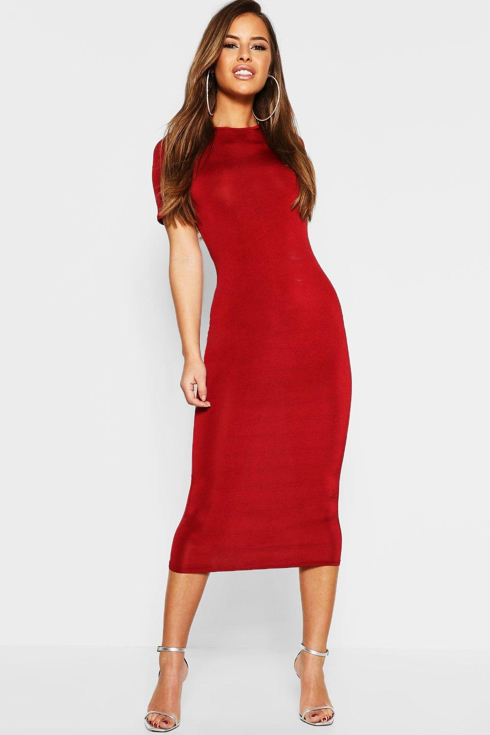 6422b3162a4a Boohoo Petite Slinky Disco Cap Sleeve Bodycon Dress in Red - Lyst