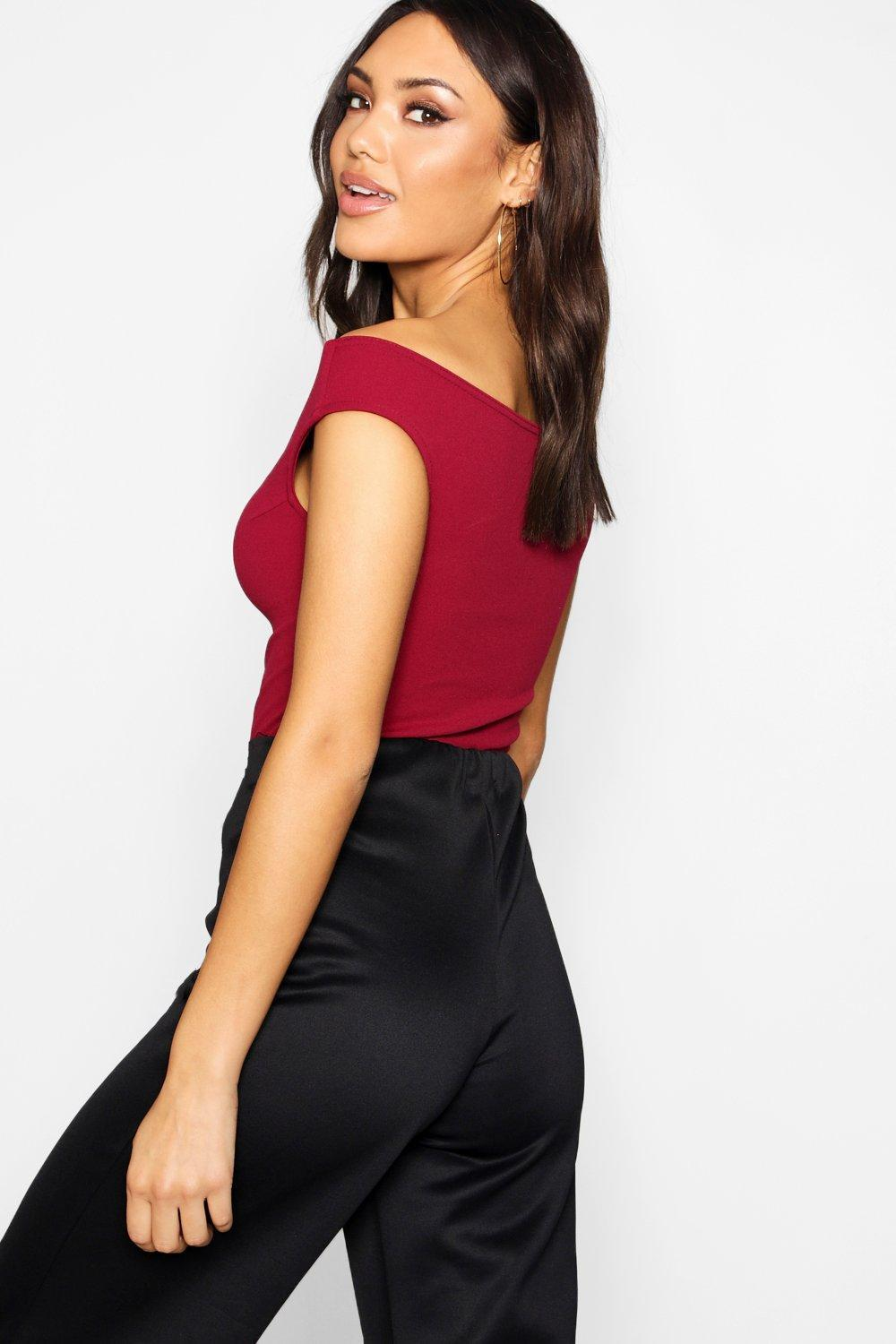 3d80ee5b3abe78 Lyst - Boohoo Crepe Bardot Top in Red