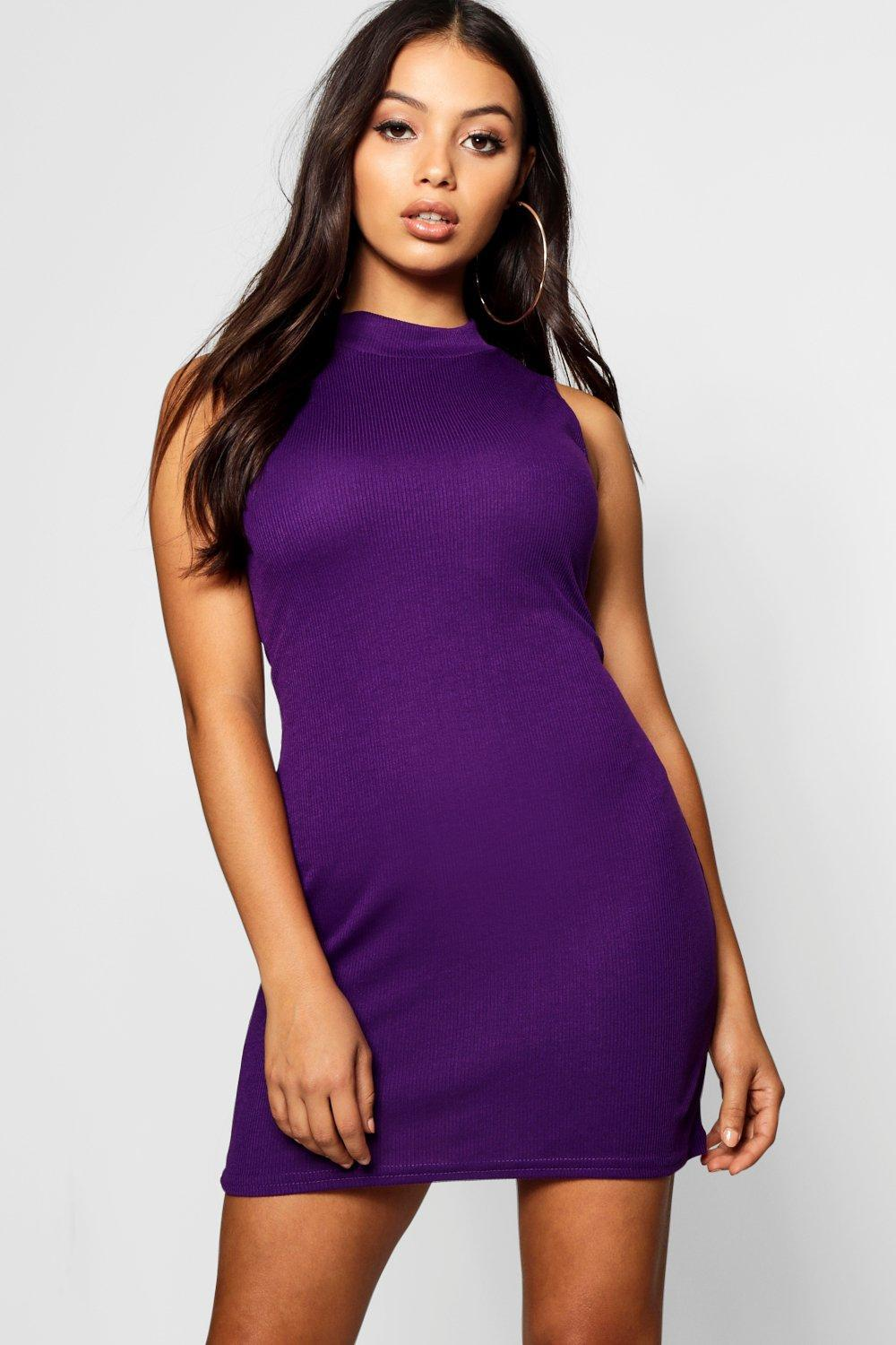 75ff4cd20fc6 Boohoo Petite High Neck Bodycon Dress in Purple - Lyst